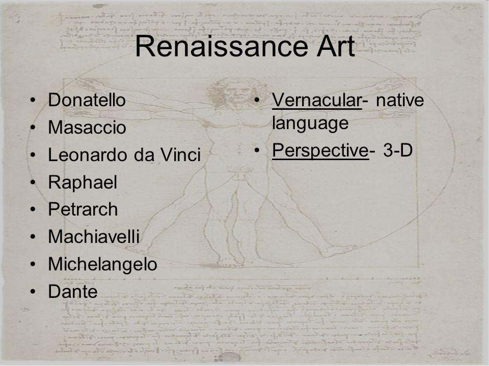 Renaissance Art Donatello Masaccio Leonardo da Vinci Raphael Petrarch