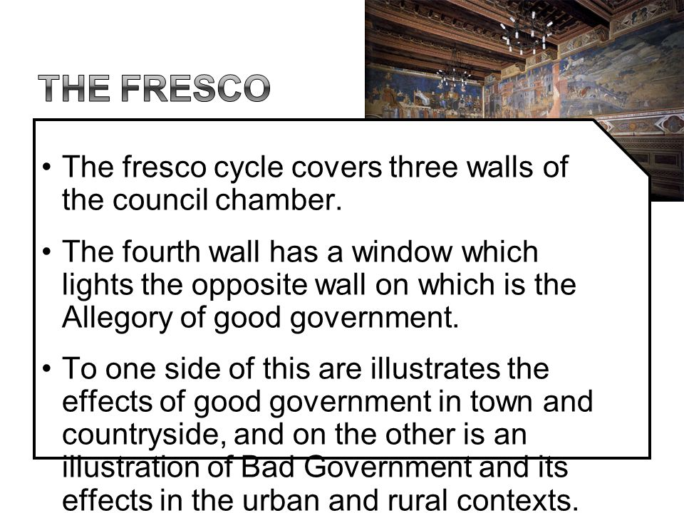 The fresco The fresco cycle covers three walls of the council chamber.