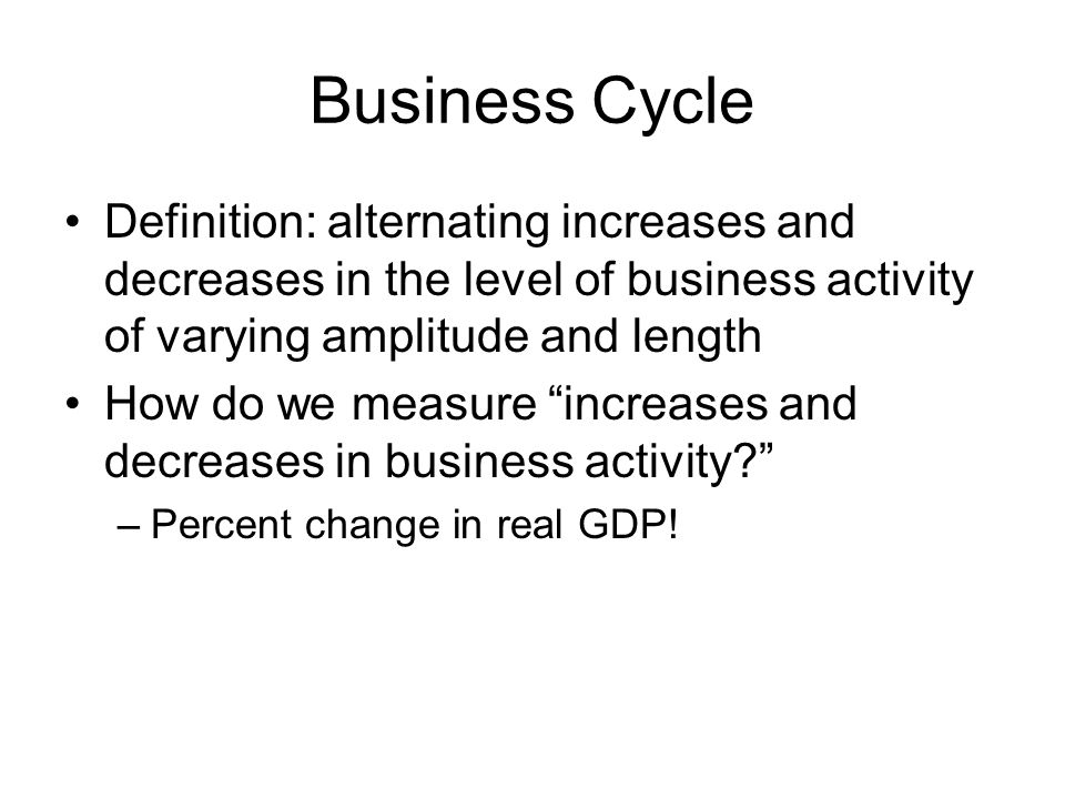 Business Cycle Definition: alternating increases and decreases in the level of business activity of varying amplitude and length.