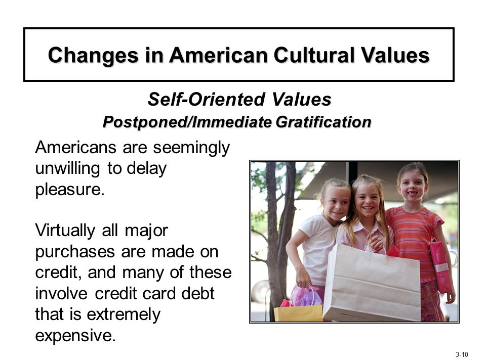 Changes in American Cultural Values Postponed/Immediate Gratification