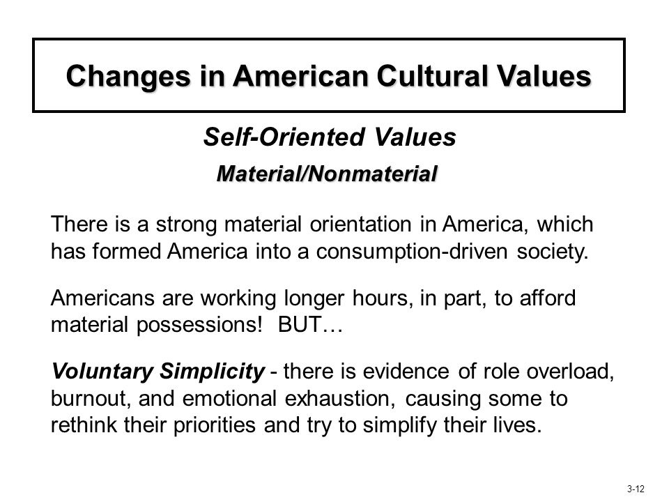 Changes in American Cultural Values Material/Nonmaterial