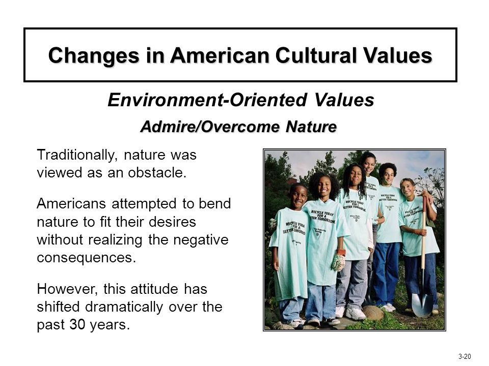 Changes in American Cultural Values Admire/Overcome Nature