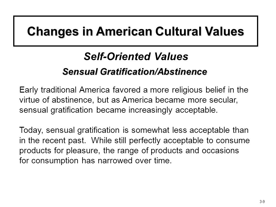 Changes in American Cultural Values Sensual Gratification/Abstinence
