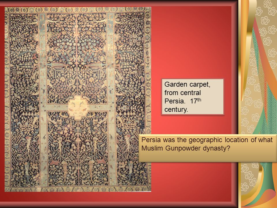 Garden carpet, from central Persia. 17th century.