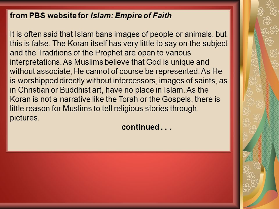 from PBS website for Islam: Empire of Faith