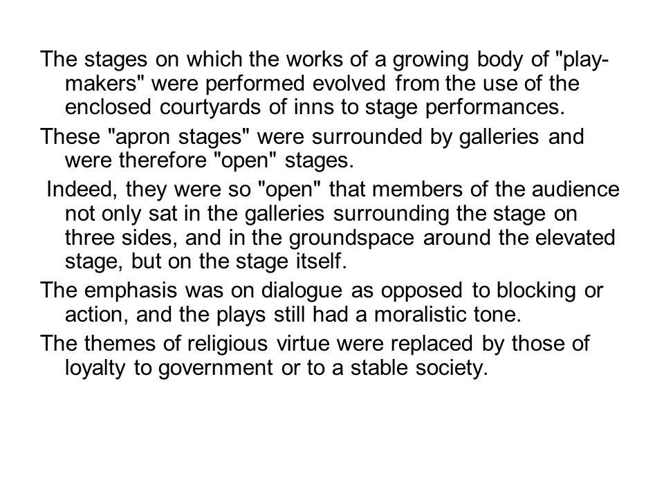 The stages on which the works of a growing body of play-makers were performed evolved from the use of the enclosed courtyards of inns to stage performances.
