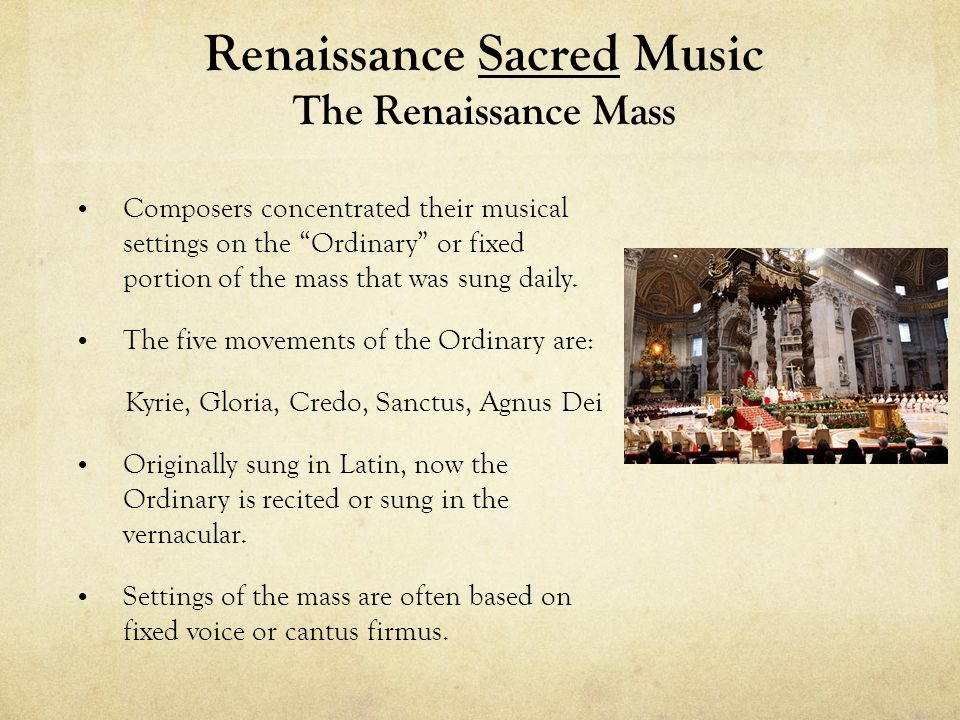 Renaissance Sacred Music The Renaissance Mass