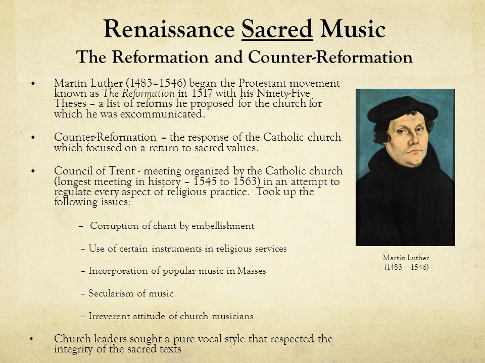 Renaissance Sacred Music The Reformation and Counter-Reformation