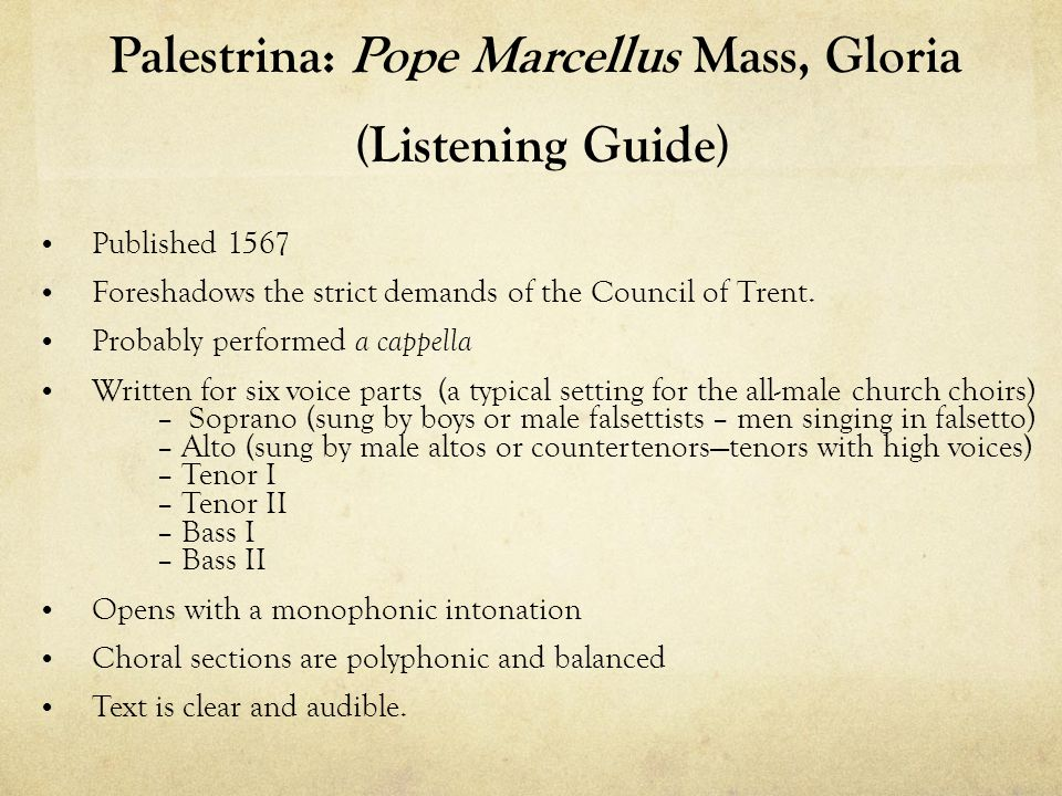 Palestrina: Pope Marcellus Mass, Gloria (Listening Guide)