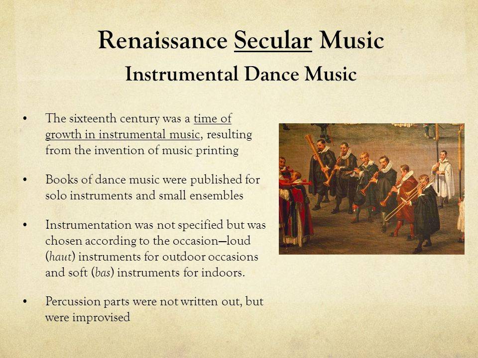 Renaissance Secular Music Instrumental Dance Music