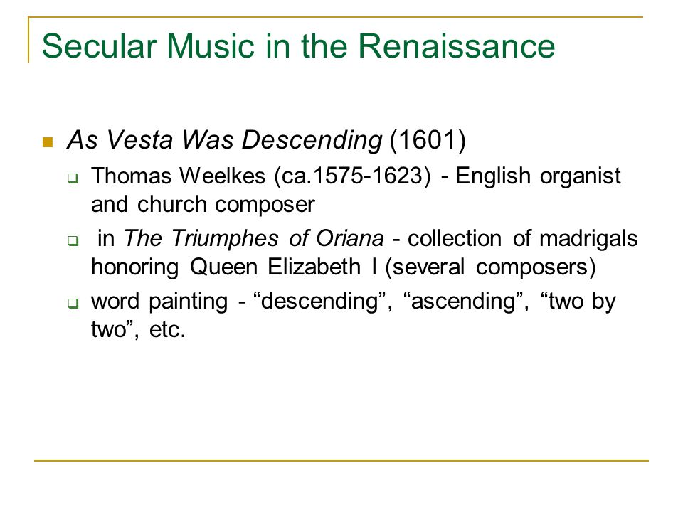 Secular Music in the Renaissance