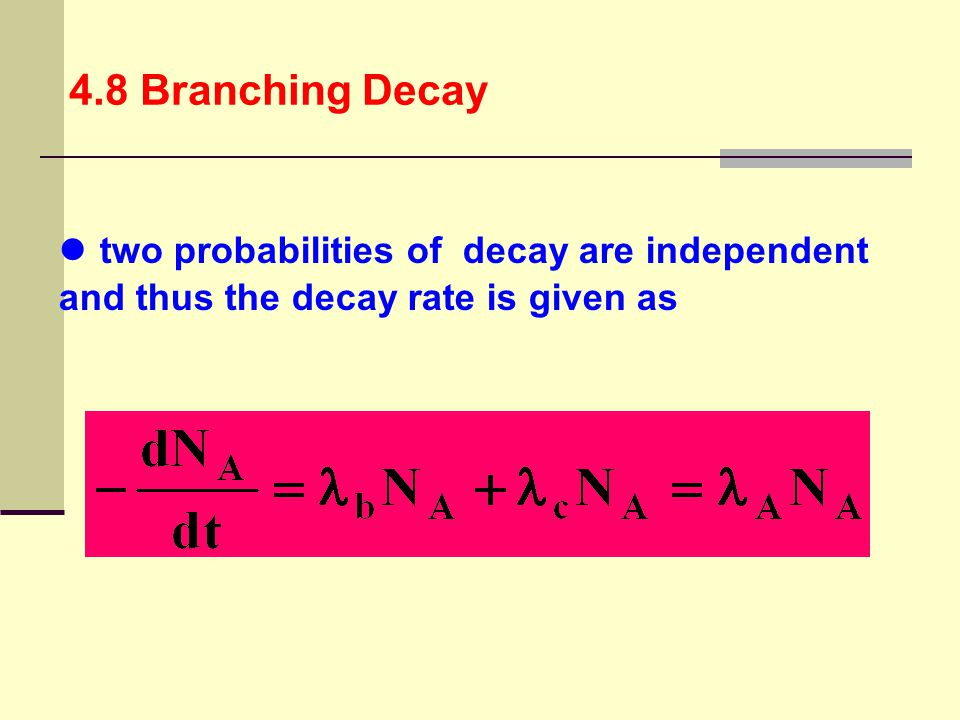 4.8 Branching Decay two probabilities of decay are independent and thus the decay rate is given as.