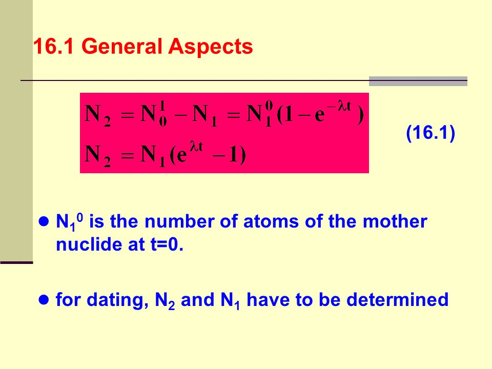 16.1 General Aspects (16.1) N10 is the number of atoms of the mother nuclide at t=0.