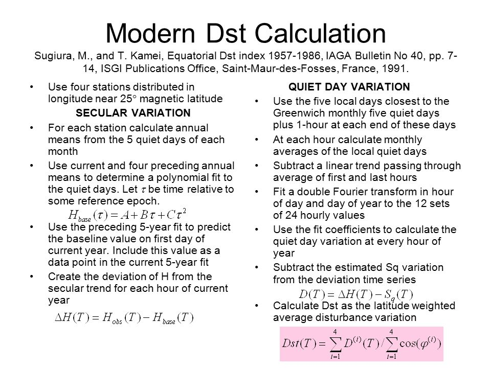 Modern Dst Calculation Sugiura, M. , and T