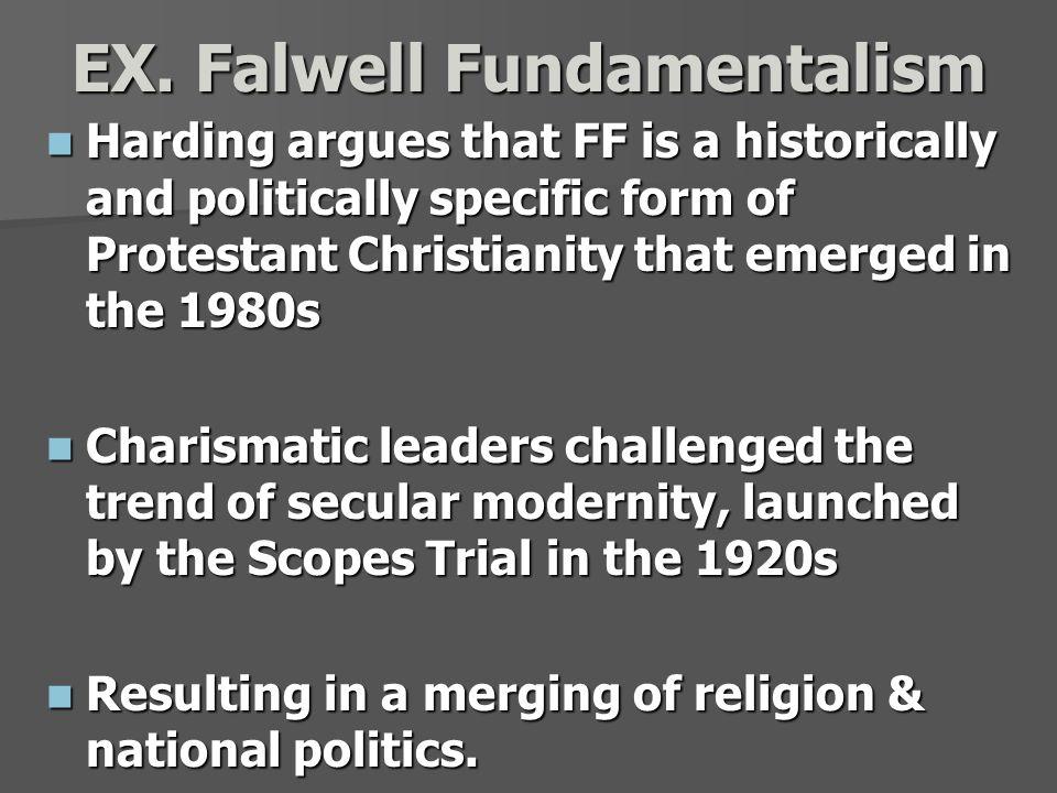 EX. Falwell Fundamentalism