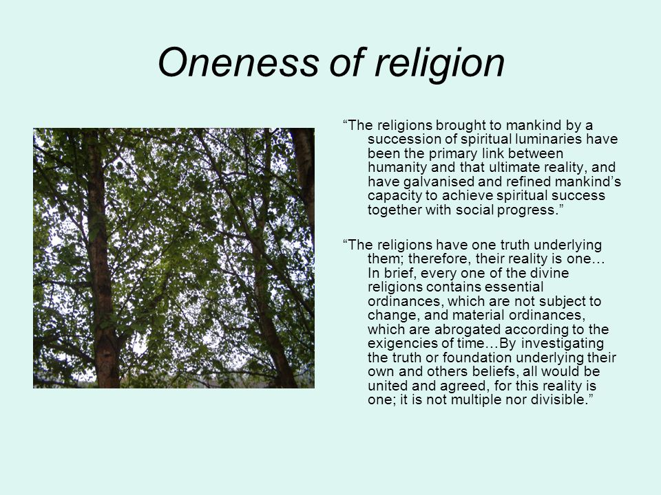 oneness of religion and oneness of mankind The oneness  debate the the fact that no man may look on god's face in can you imagine what the religious leaders of then or even now would like to do to.