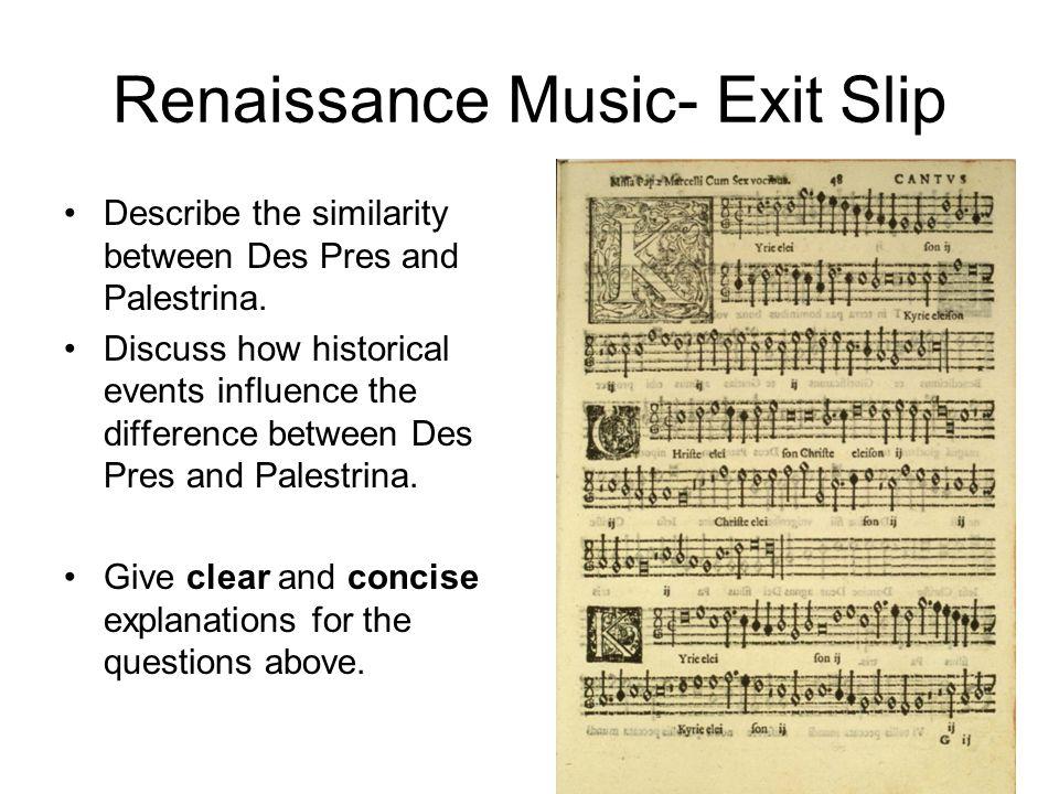 Renaissance Music- Exit Slip
