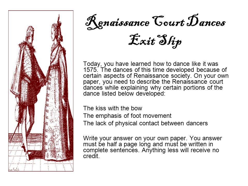 Renaissance Court Dances Exit Slip