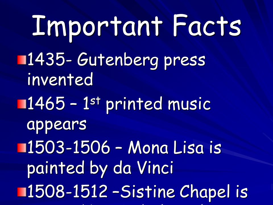 Important Facts 1435- Gutenberg press invented