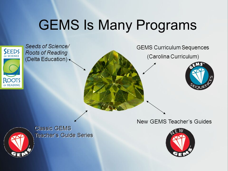 GEMS Is Many Programs New GEMS Teacher's Guides Classic GEMS