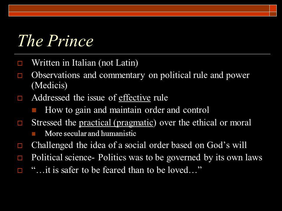 The Prince Written in Italian (not Latin)