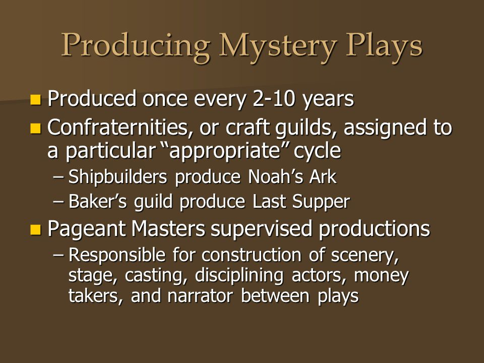 Producing Mystery Plays
