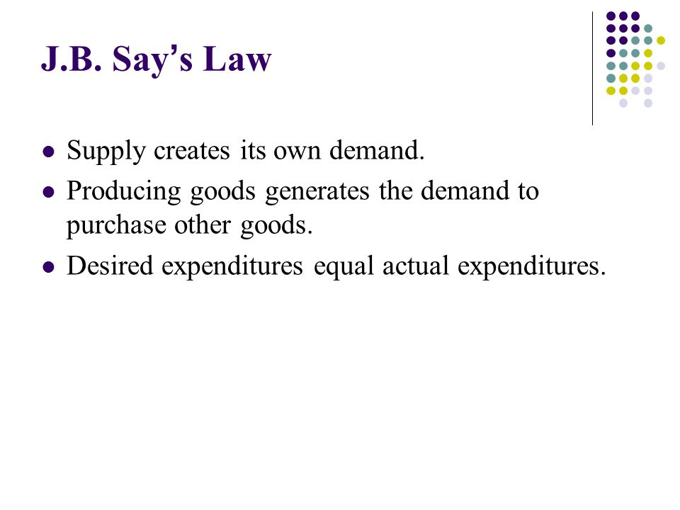 J.B. Say's Law Supply creates its own demand.