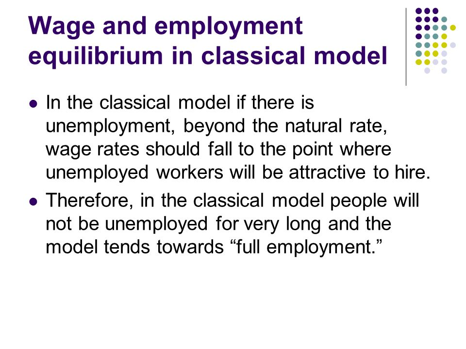 Wage and employment equilibrium in classical model