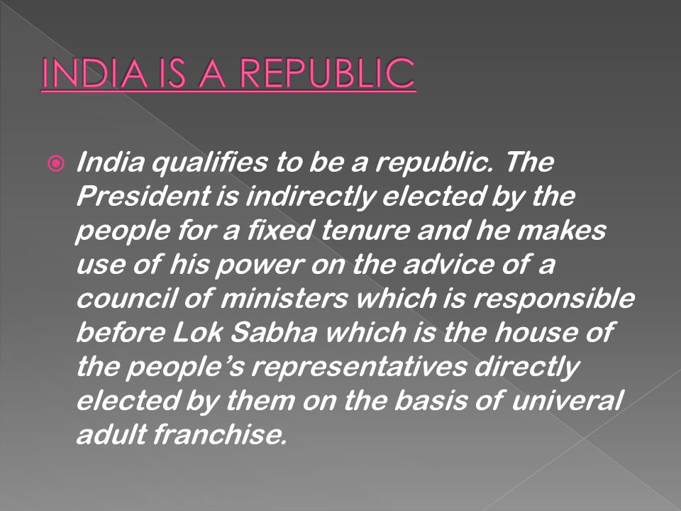 INDIA IS A REPUBLIC
