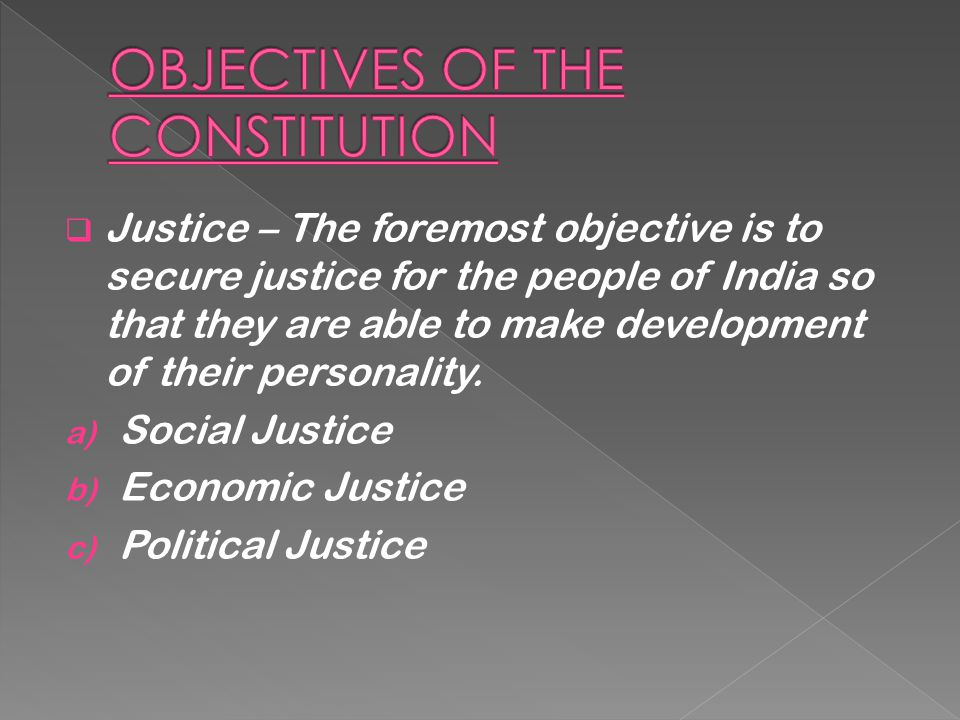 OBJECTIVES OF THE CONSTITUTION