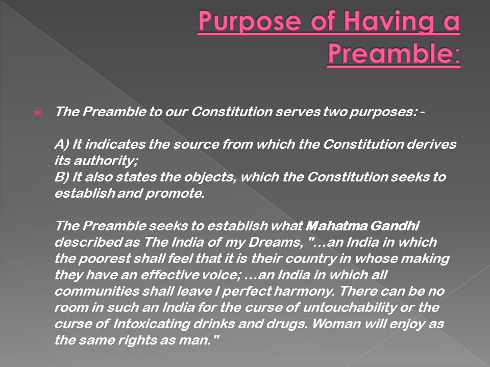Purpose of Having a Preamble: