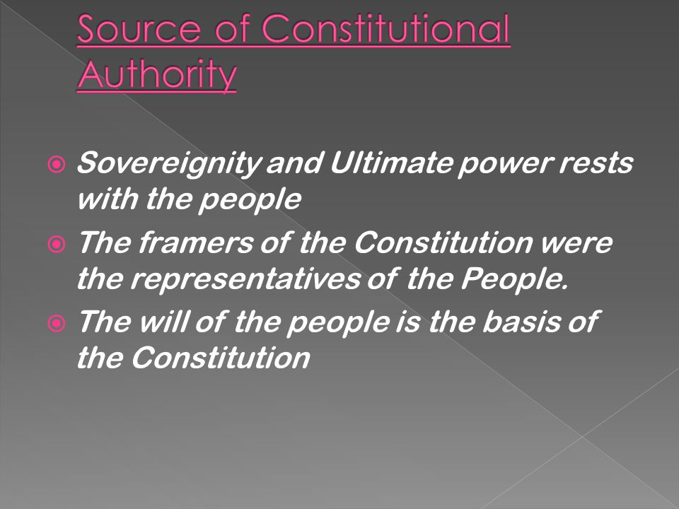 Source of Constitutional Authority