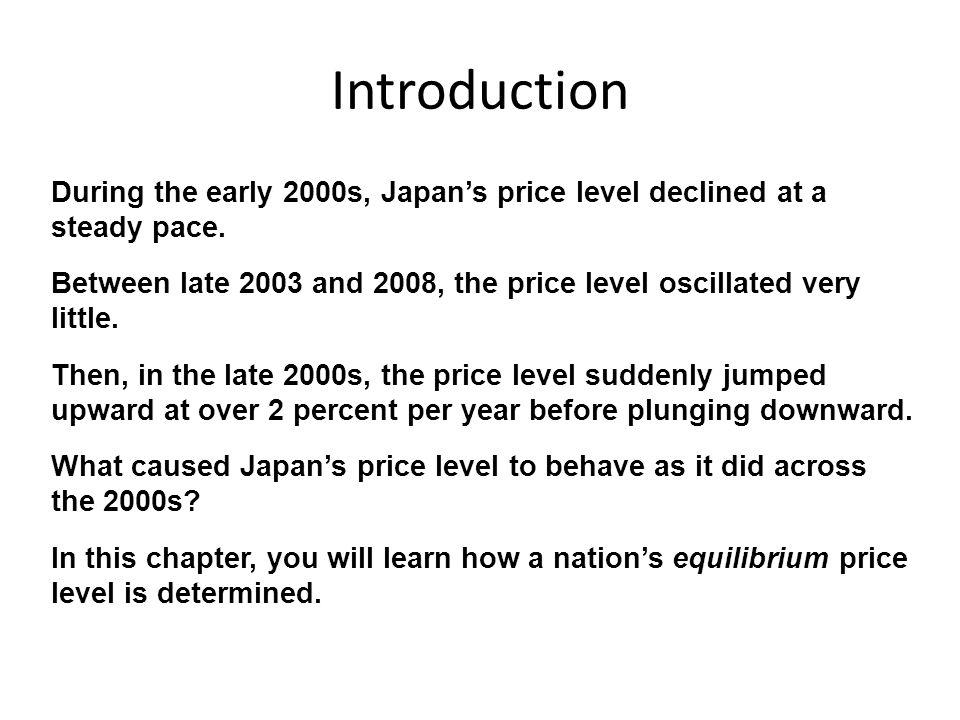 Introduction During the early 2000s, Japan's price level declined at a steady pace.
