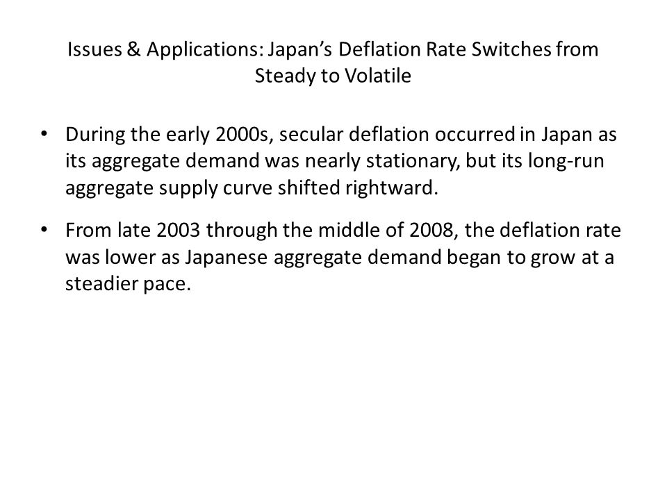 Issues & Applications: Japan's Deflation Rate Switches from Steady to Volatile