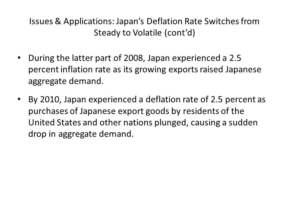 Issues & Applications: Japan's Deflation Rate Switches from Steady to Volatile (cont'd)