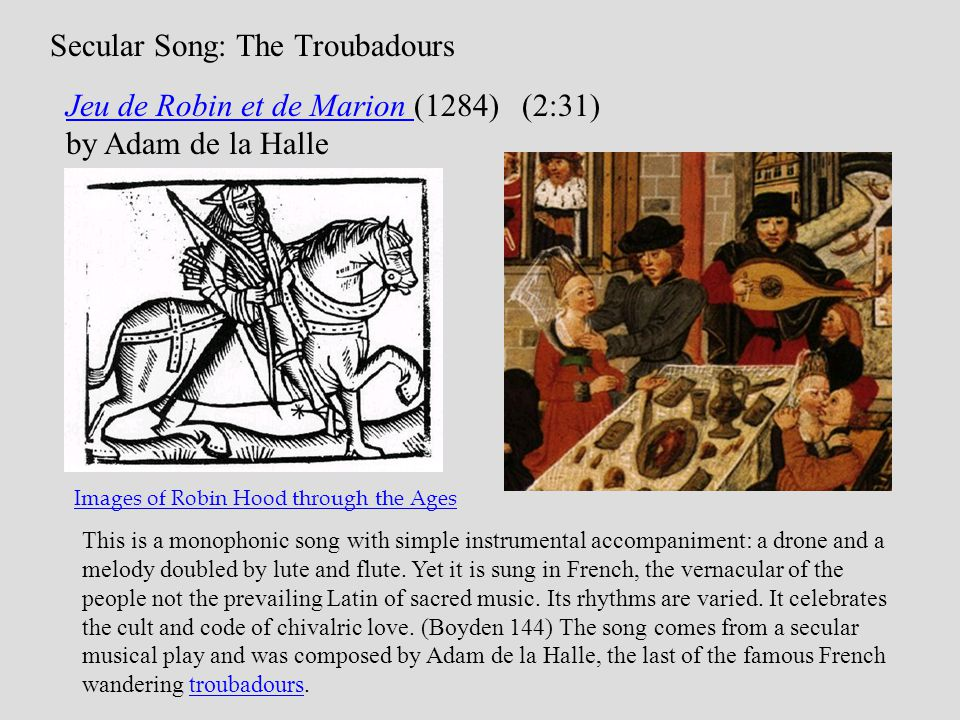 Secular Song: The Troubadours