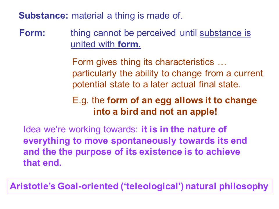 Substance: material a thing is made of.