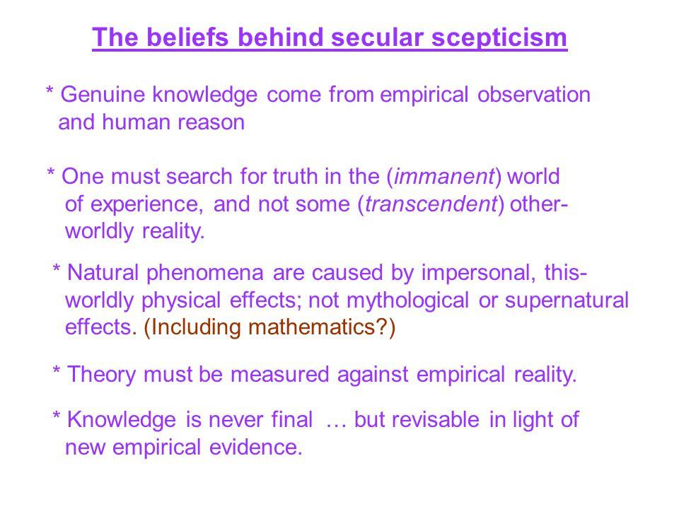 The beliefs behind secular scepticism