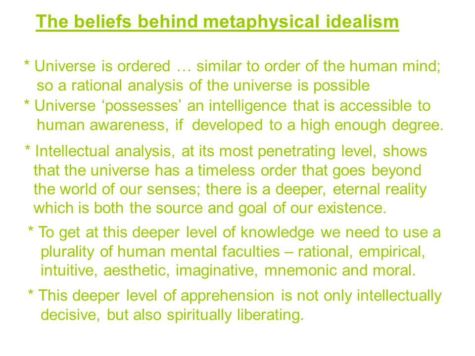 The beliefs behind metaphysical idealism