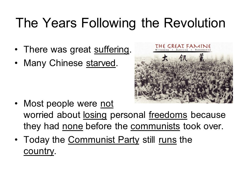 The Years Following the Revolution