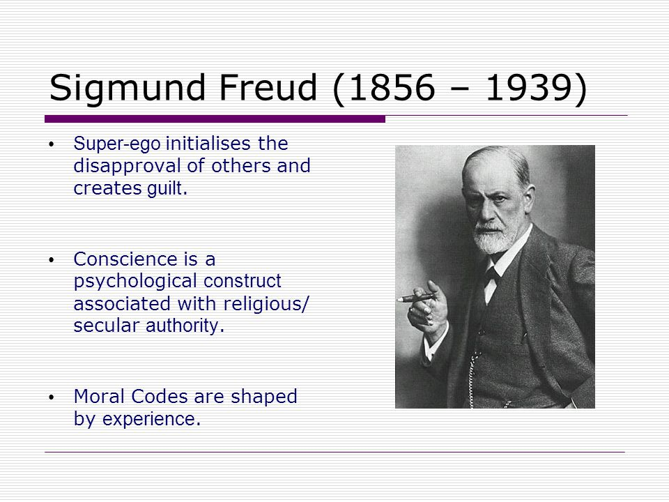 Sigmund Freud (1856 – 1939) Super-ego initialises the disapproval of others and creates guilt.