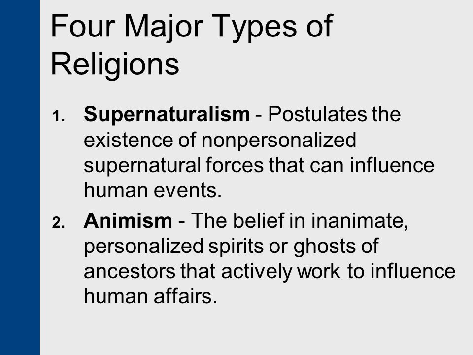 Four Major Types of Religions