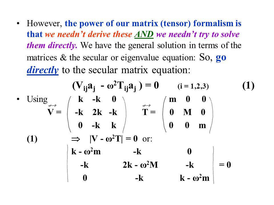 (Vijaj - ω2Tijaj ) = 0 (i = 1,2,3) (1)