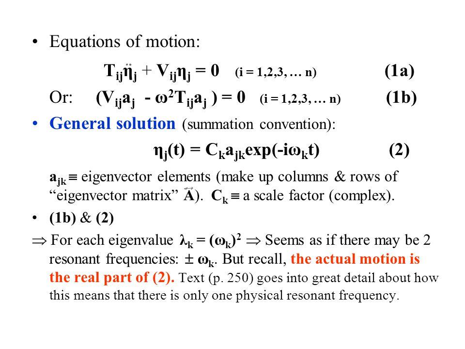 Tijηj + Vijηj = 0 (i = 1,2,3, … n) (1a)