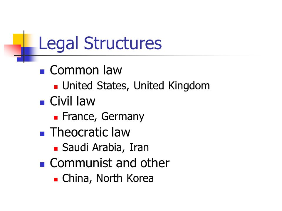 Legal Structures Common law Civil law Theocratic law