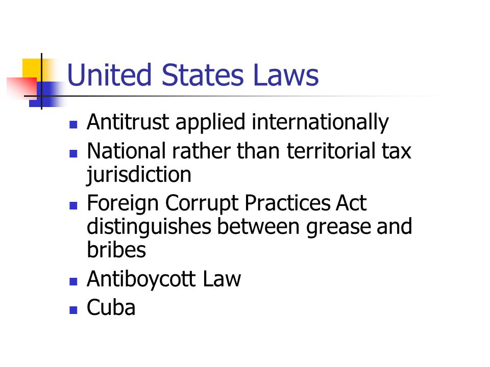 United States Laws Antitrust applied internationally