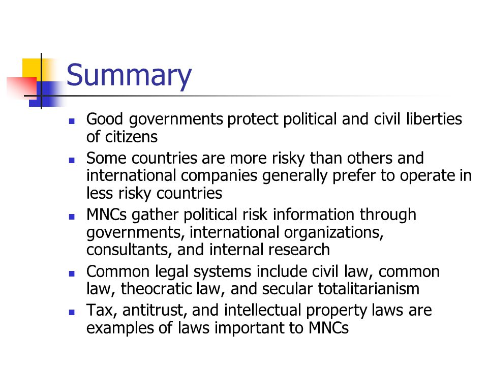 Summary Good governments protect political and civil liberties of citizens.