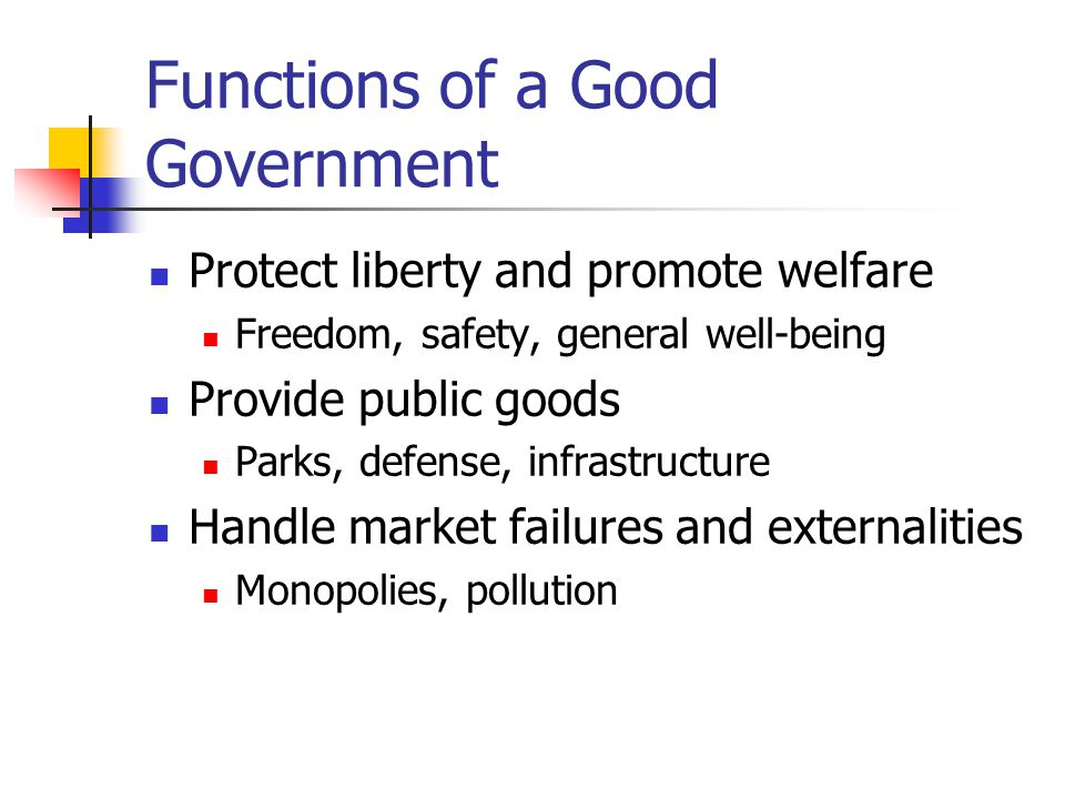 Functions of a Good Government