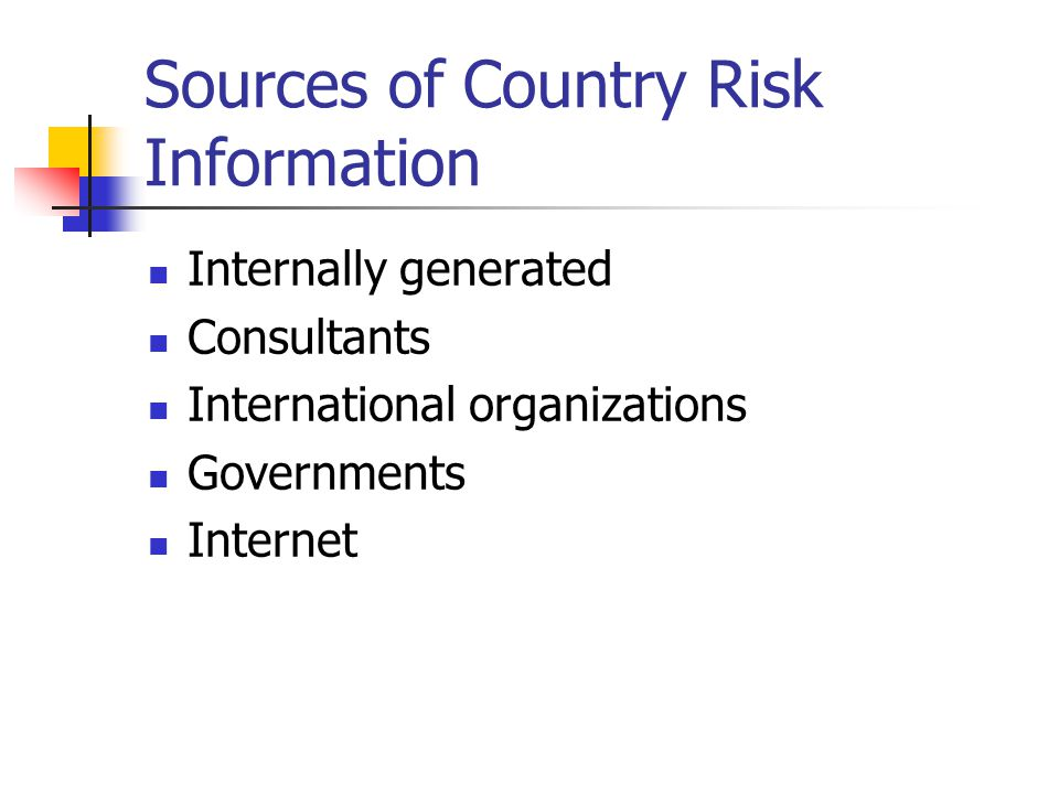 Sources of Country Risk Information