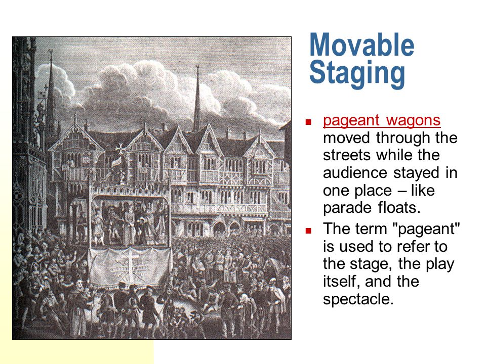 Movable Staging pageant wagons moved through the streets while the audience stayed in one place – like parade floats.
